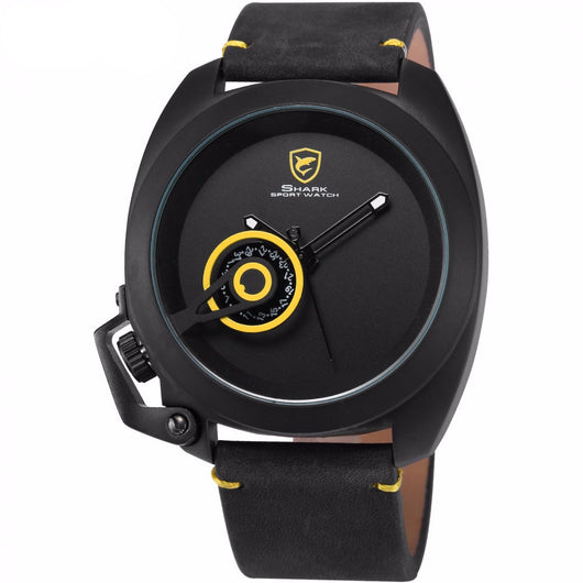 Black & Yellow Shark Sport Crown Guard Military Watch