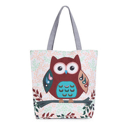 Floral Owl Canvas Tote