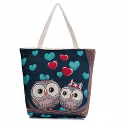 Owls In Love Canvas Totes