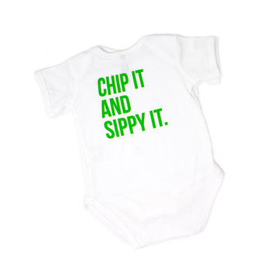 """Chip It & Sippy It"" Onesie"