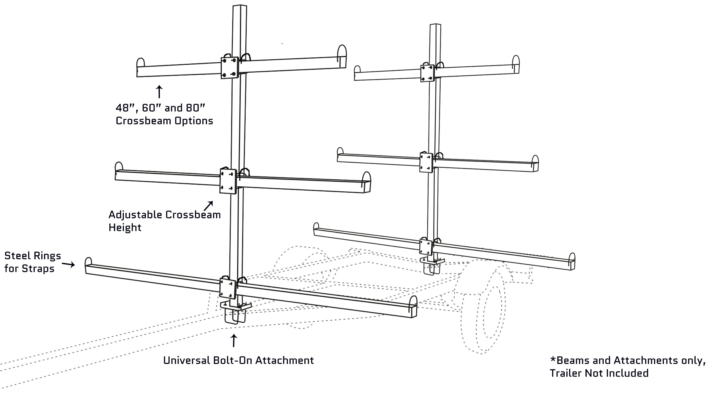 canoe kayak trailer crossbeam options