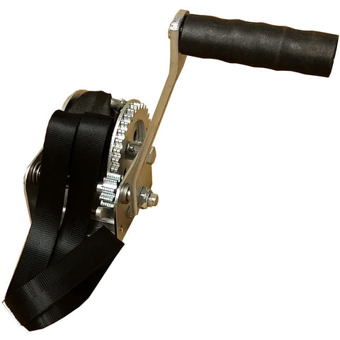 900 lb Capacity Crank Winch with Strap and Hook DL 900