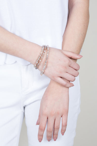 Aria Peach Moonstone Triple Wrap Bracelet