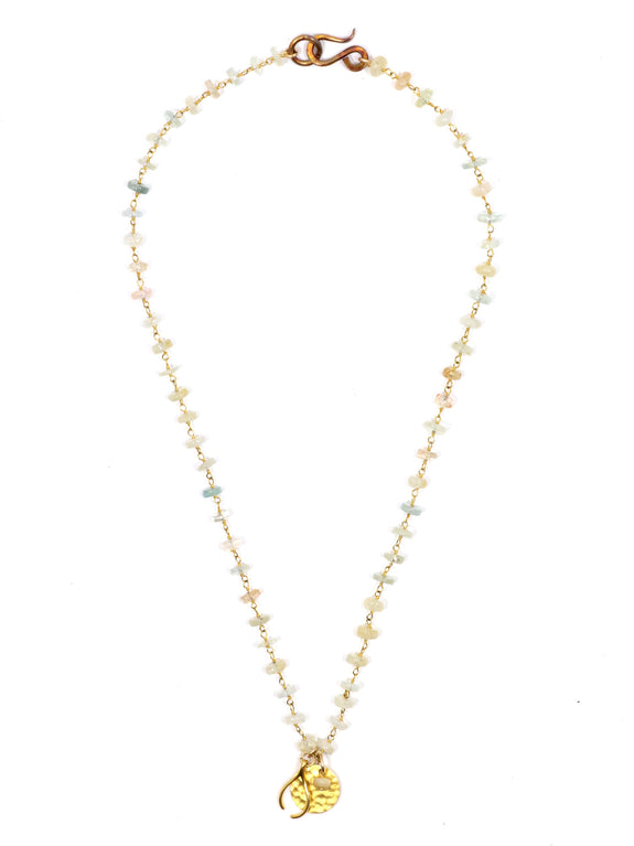 Uneven Wishbone Aquamarine Necklace