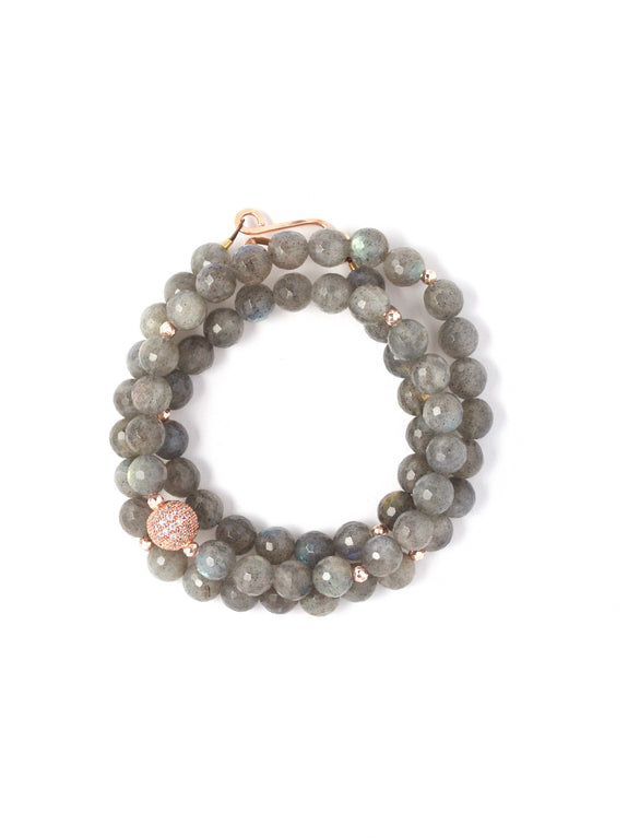 Gia Faceted Labradorite Triple Wrap Bracelet