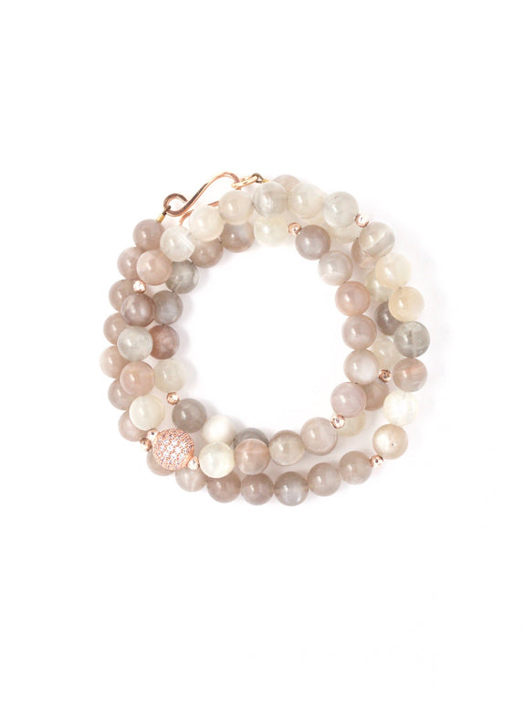 Gia Peach Moonstone Triple Wrap Bracelet