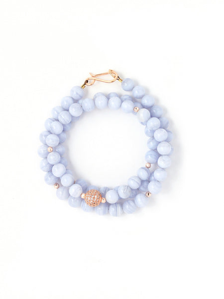 Gia Blue Lace Agate Triple Wrap Bracelet
