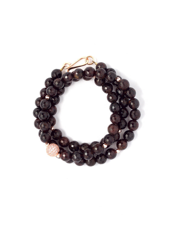 Gia Faceted Garnet Triple Wrap Bracelet