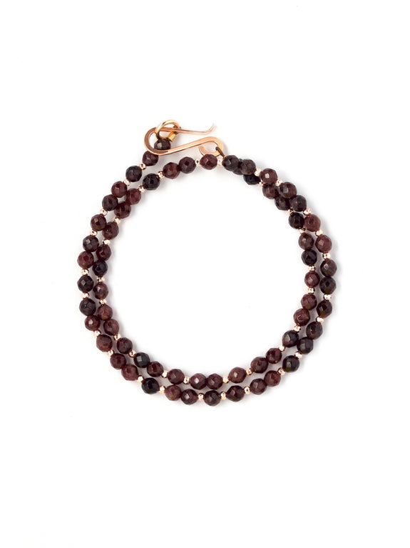 Aria Faceted Garnet Wrap Bracelet