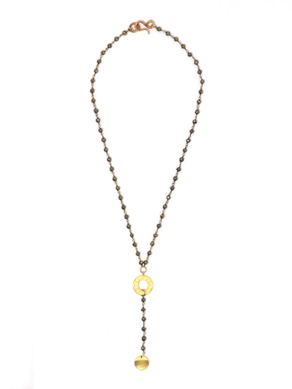 Circle the Moon Pyrite Lariat Necklace