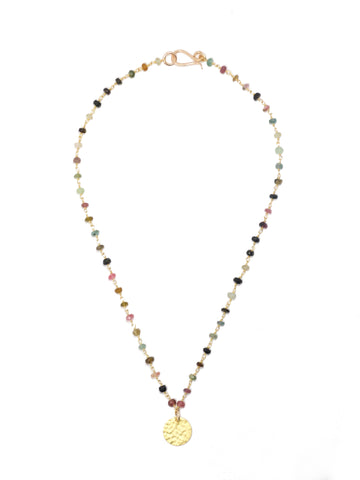 Watermelon Tourmaline Coin Necklace