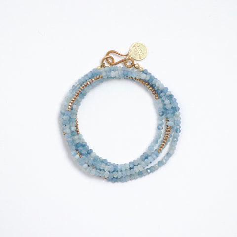 Aquamarine Five Wrap Bracelet