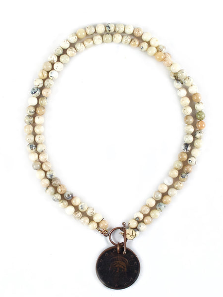 Melinda African White Opal Necklace