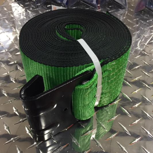 "Strap w/ Flathook, 4"" x 30' Cargo Control Nationwide Trailers Parts Store Green 1"