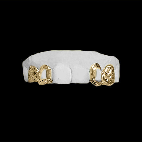 [CUSTOM-GRILLZ] 4 Teeth w/ Diamond Cuts and Open Face - Gold Teeth - Gold Grillz - Gold Grills - Bargainsociety