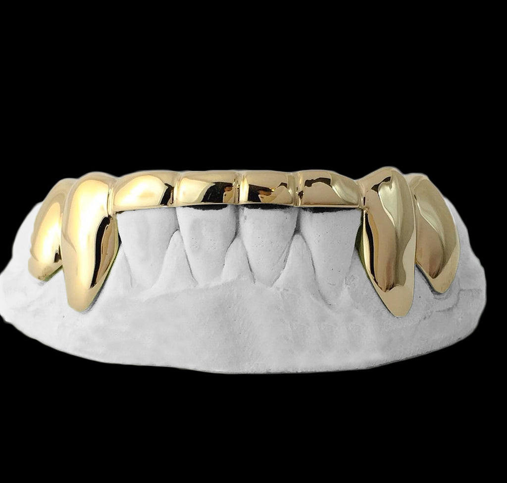 [CUSTOM-GRILLZ] Solid Gold 6 Teeth Connecting Bridge Grillz Bar - Gold Teeth - Gold Grillz - Gold Grills - Bargainsociety
