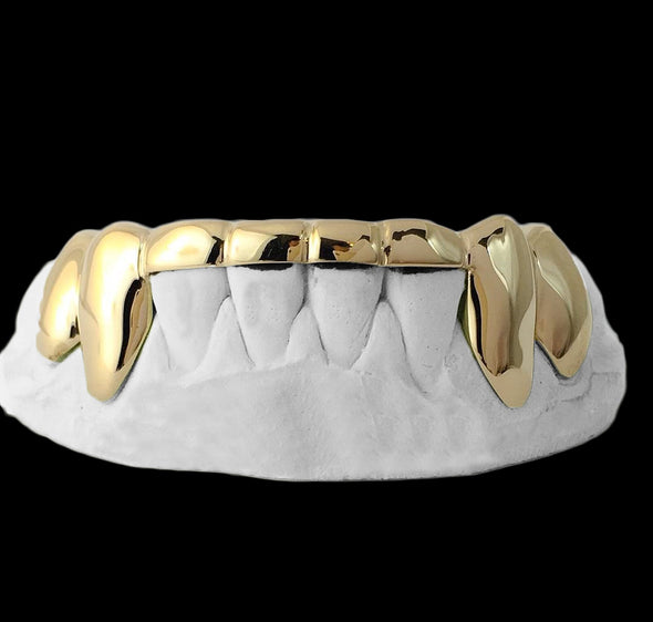 [CUSTOM-GRILLZ] Solid Gold 6 Teeth Connecting Bridge Grillz Bar - Gold Teeth - Gold Grillz - Rois D'or