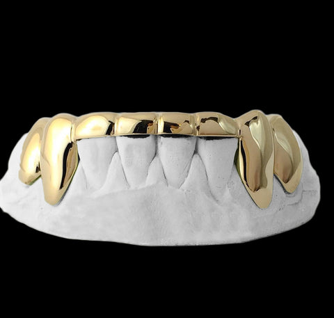 [CUSTOM-GRILLZ] Solid Gold 6 Teeth Connecting Bridge Grillz Bar