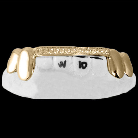 [CUSTOM-GRILLZ] Bar Grillz Fangz w/ CZ Iced Out - Gold Teeth - Gold Grillz - Gold Grills - Bargainsociety