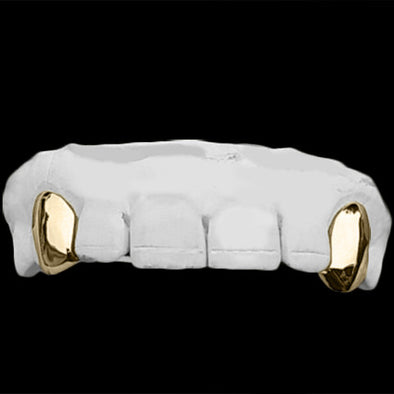 [CUSTOM GRILLZ] 2 Piece Fang Grillz - Gold Teeth - Gold Grillz - Rois D'or