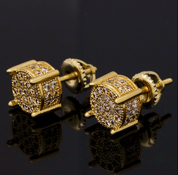 Gold Plated Iced Out CZ Earrings - Gold Teeth - Gold Grillz - Rois D'or