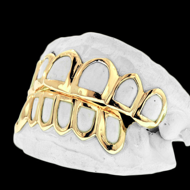 [CUSTOM-GRILLZ] Solid Gold Open Face Grillz - Gold Teeth - Gold Grillz - Gold Grills - Bargainsociety