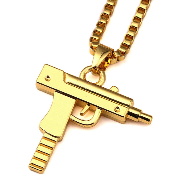 18K Gold Plated Submachine Gun Pendant Necklace - Gold Teeth - Gold Grillz - Rois D'or