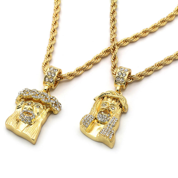 14k Gold Plated Set of Jesus - Gold Teeth - Gold Grillz - Rois D'or