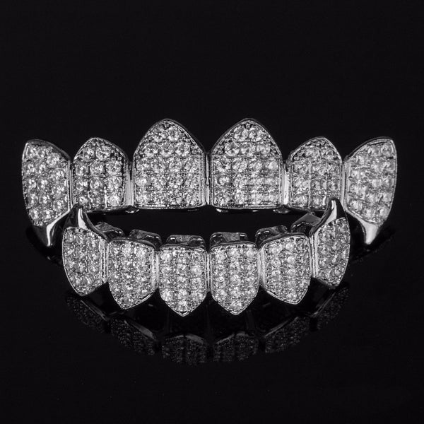 Silver Plated High Quality CZ Top Bottom Fang Grillz Set