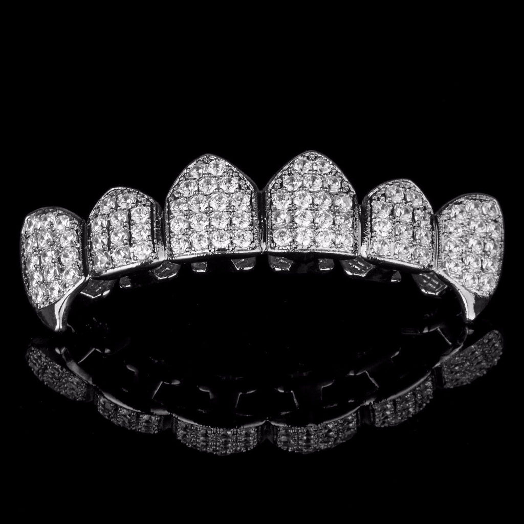 Image result for Silver Plated High Quality Cz Top Bottom Fang Grillz Sets
