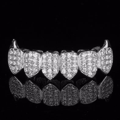Silver Plated CZ Bottom Grillz w Fangs - Gold Teeth - Gold Grillz - Rois D'or