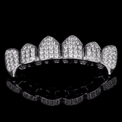 Silver Plated High Quality CZ Top Fang Grillz - Gold Teeth - Gold Grillz - Rois D'or