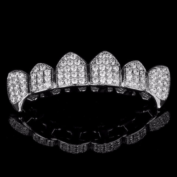 Silver Plated High Quality CZ Top Fang Grillz