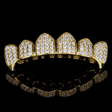 Gold Plated CZ Top Grillz w Fangs - Gold Teeth - Gold Grillz - Rois D'or