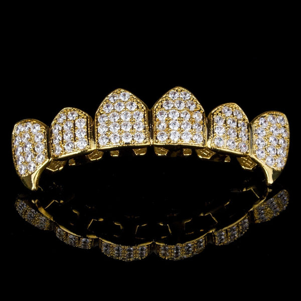 Gold Plated High Quality CZ Top Fang Grillz