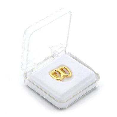 Gold Plated Grillz - Double Hollow Cap - Gold Teeth - Gold Grillz - Rois D'or