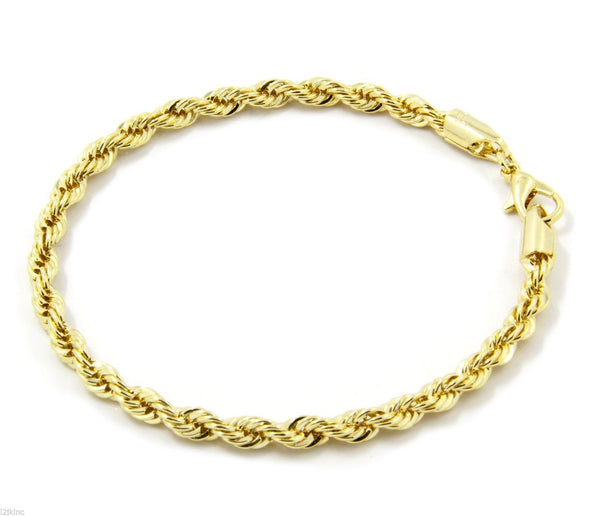 14k Gold Plated Sparkling French Rope Bracelet - Gold Teeth - Gold Grillz - Rois D'or
