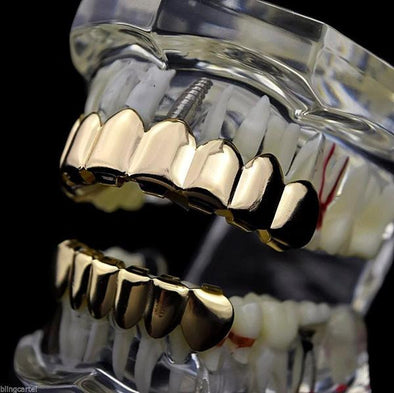 Custom Fit Gril-14 - Gold Teeth - Gold Grillz - Rois D'or