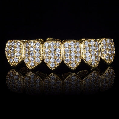 Gold Plated CZ Bottom Grillz - Gold Teeth - Gold Grillz - Rois D'or