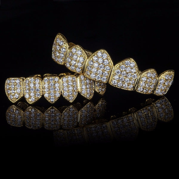 Image result for Gold Plated High Quality CZ Top Bottom Fang Grillz Set