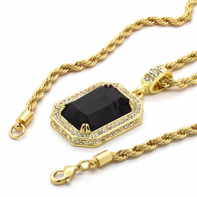 14k Gold Plated w/Black Ruby Pendant & Chain - Gold Teeth - Gold Grillz - Rois D'or