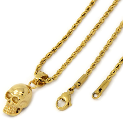 14k Gold Plated Mini Skull Pendant - Gold Teeth - Gold Grillz - Gold Grills - Bargainsociety