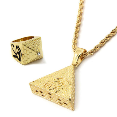 14K Gold Plated Pyramid Pendant - Gold Teeth - Gold Grillz - Rois D'or