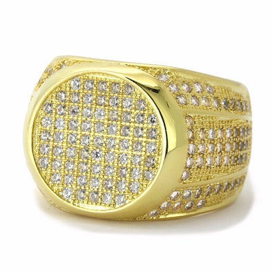 Gold Plated Iced Out Flat Face Ring - Gold Teeth - Gold Grillz - Rois D'or