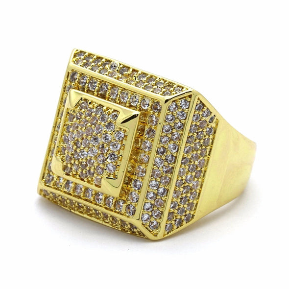 14K Gold Plated Iced Out Square Dome - Gold Teeth - Gold Grillz - Rois D'or