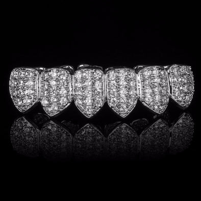 Silver Plated CZ Bottom Grillz