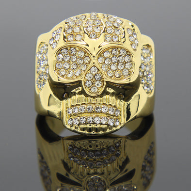14K Gold Plated Skull Ring - Gold Teeth - Gold Grillz - Rois D'or