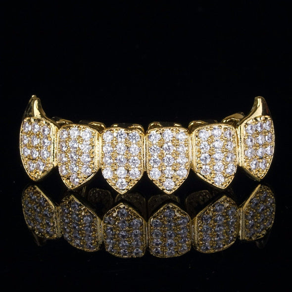 Gold Plated High Quality CZ Bottom Fang Grillz - Gold Teeth - Gold Grillz - Gold Grills - Bargainsociety