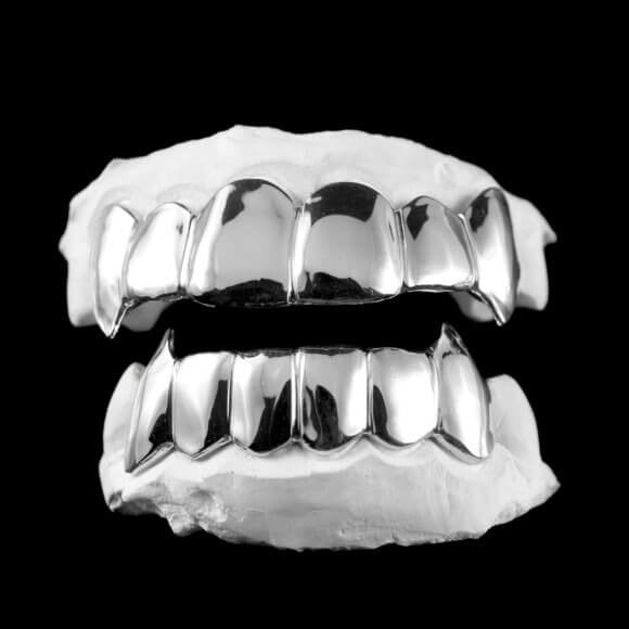 [CUSTOM-GRILLZ] Solid Sterling Silver Grillz - Gold Teeth - Gold Grillz - Gold Grills - Bargainsociety