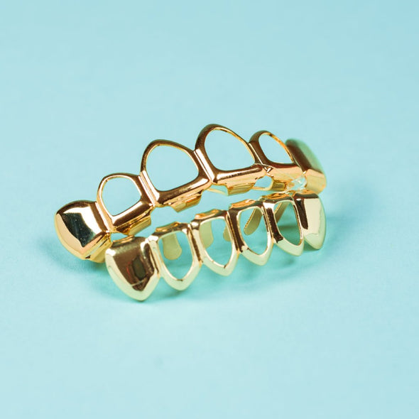 Gold Plated Open Face Grillz - Gold Teeth - Gold Grillz - Rois D'or